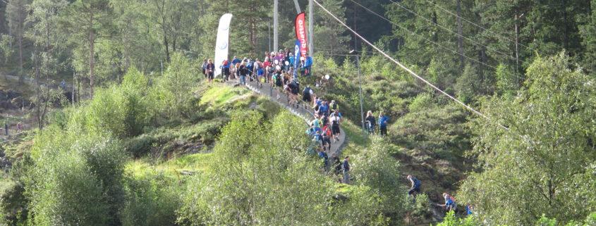 Toppen av trappene med folk og sol