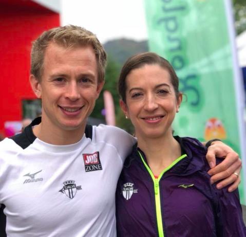 Foto av vinnarane av Bystien Førde Opp 2018: Øyvind Heiberg Sundby og Annie Bersagel